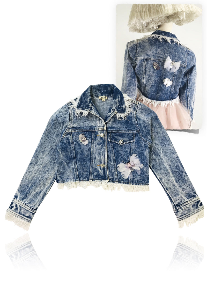 DOLLY by Le Petit Tom ® ANGELS butterfly denim jacket - DOLLY by Le Petit Tom ®