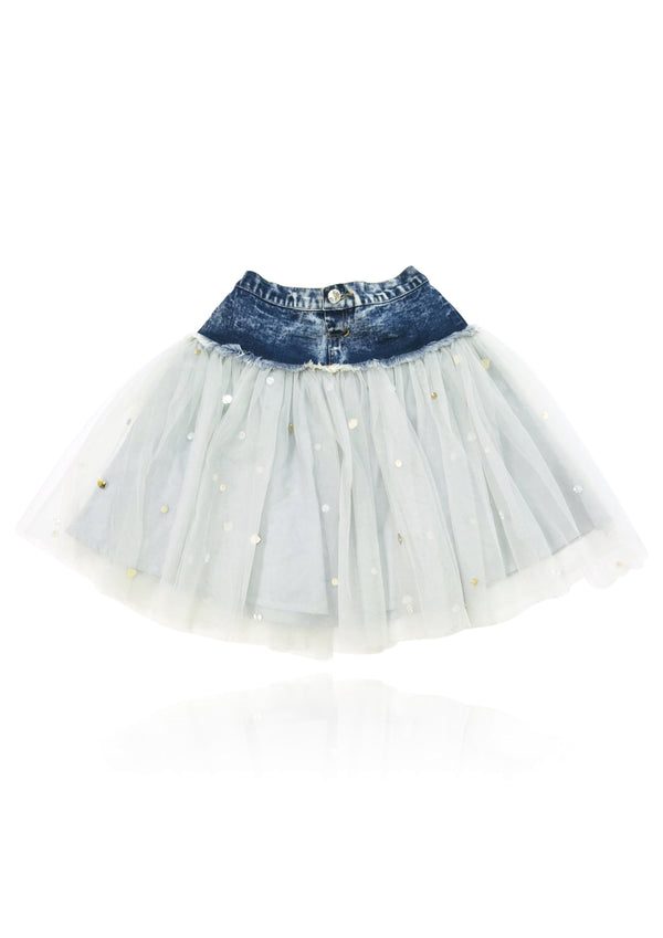 DOLLY by Le Petit Tom ® ANGELS denim waist tutu with sparkles lightblue - DOLLY by Le Petit Tom ®