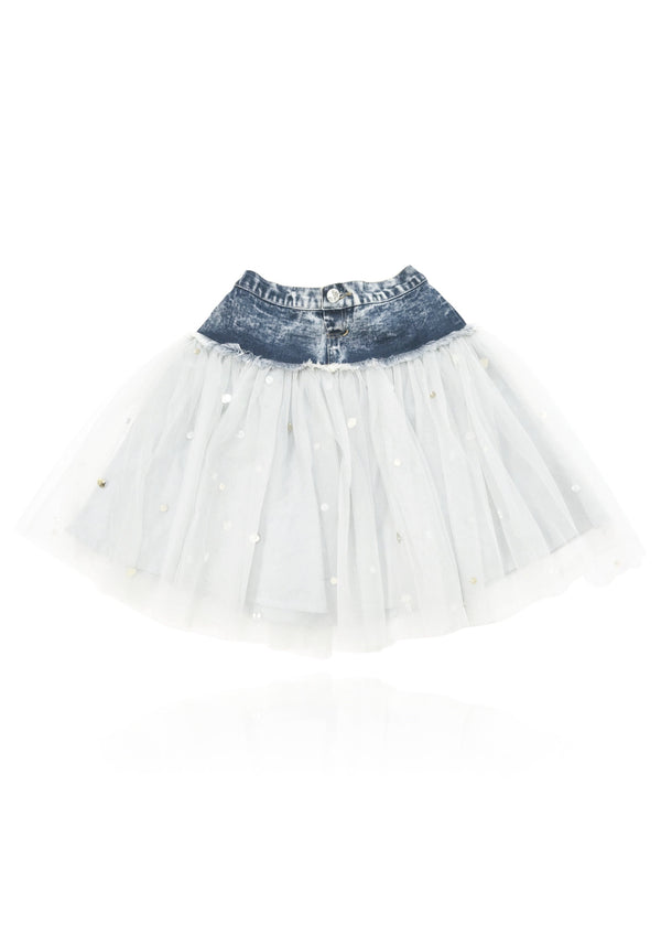 DOLLY by Le Petit Tom ® ANGELS denim waist tutu with sparkles off-white - DOLLY by Le Petit Tom ®