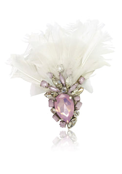 DOLLY by Le Petit Tom ® ANGELS feather broach white violet - DOLLY by Le Petit Tom ®