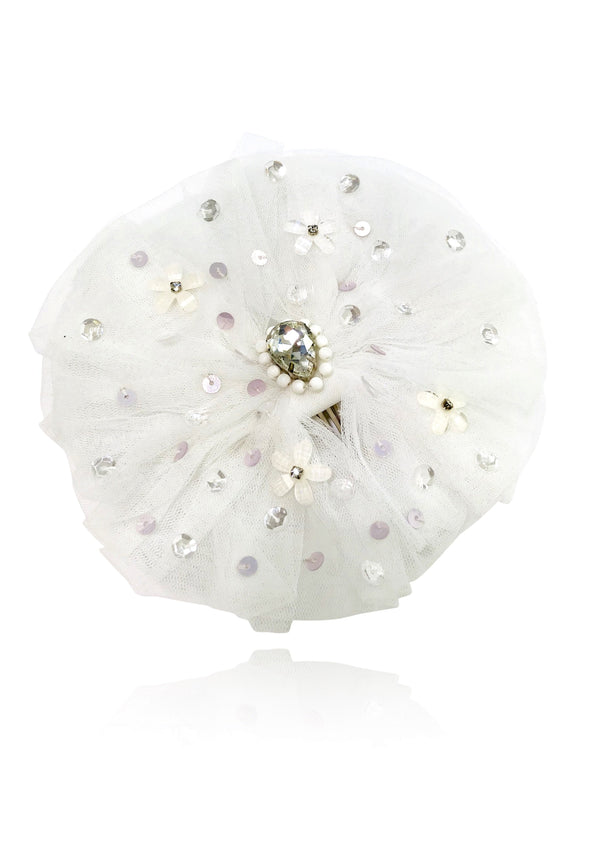 DOLLY by Le Petit Tom ® ANGELS big tulle rosette hair clip white - DOLLY by Le Petit Tom ®
