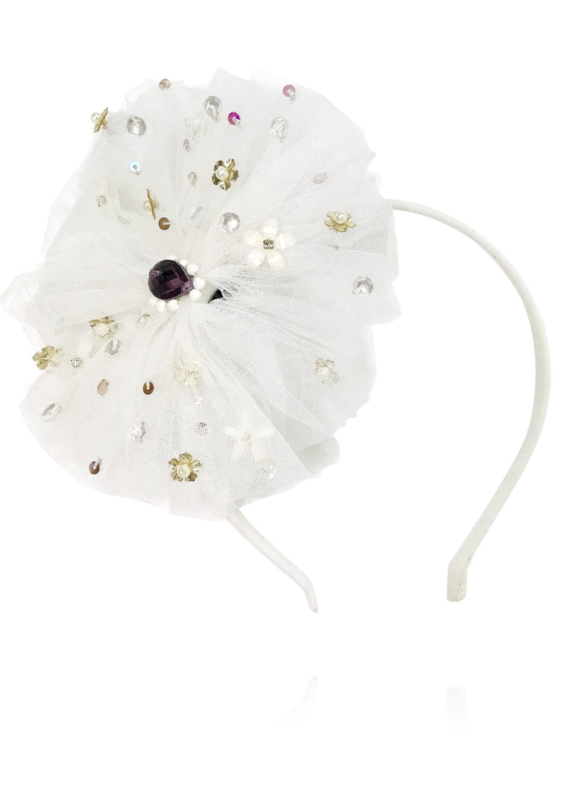DOLLY by Le Petit Tom ® ANGELS big tulle rosette headband white - DOLLY by Le Petit Tom ®