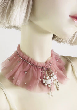 DOLLY by Le Petit Tom ® ANGELS neck ruffle pink - DOLLY by Le Petit Tom ®