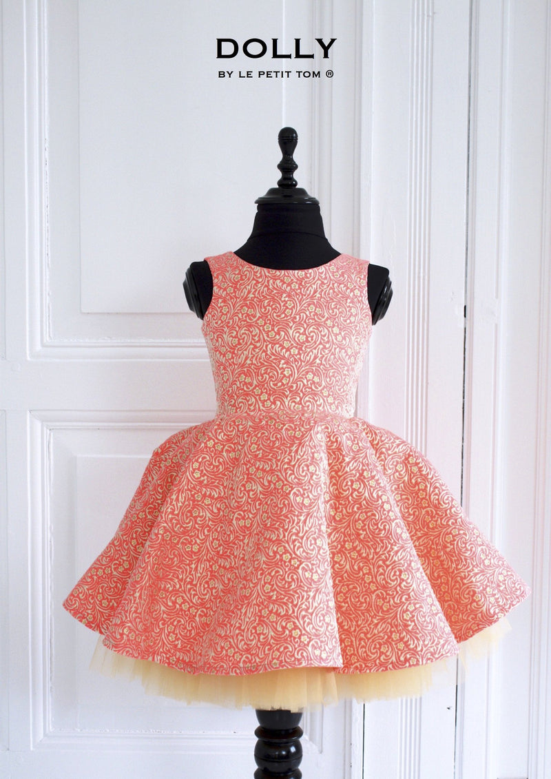 DOLLY by Le Petit Tom ® VIVID COLOR 'Ariel' JACQUARD DRESS neon coral pink - DOLLY by Le Petit Tom ®