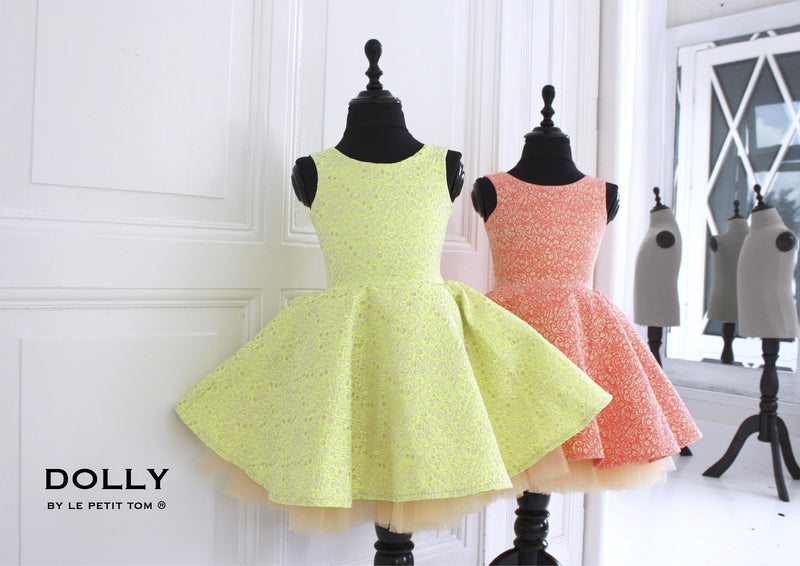 DOLLY by Le Petit Tom ® VIVID COLOR 'Ariel' JACQUARD DRESS neon yellow - DOLLY by Le Petit Tom ®