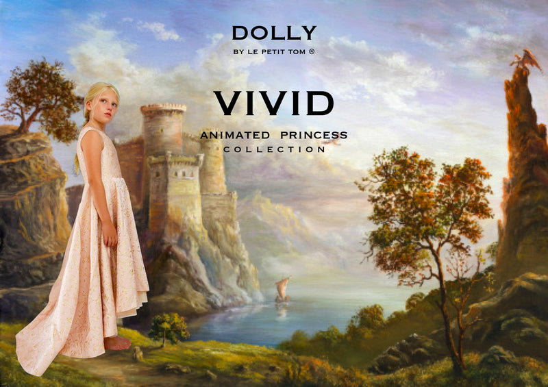 [OUTLET!] DOLLY by Le Petit Tom ® VIVID ANIMATED PRINCESS AURORA JACQUARD DRESS pink