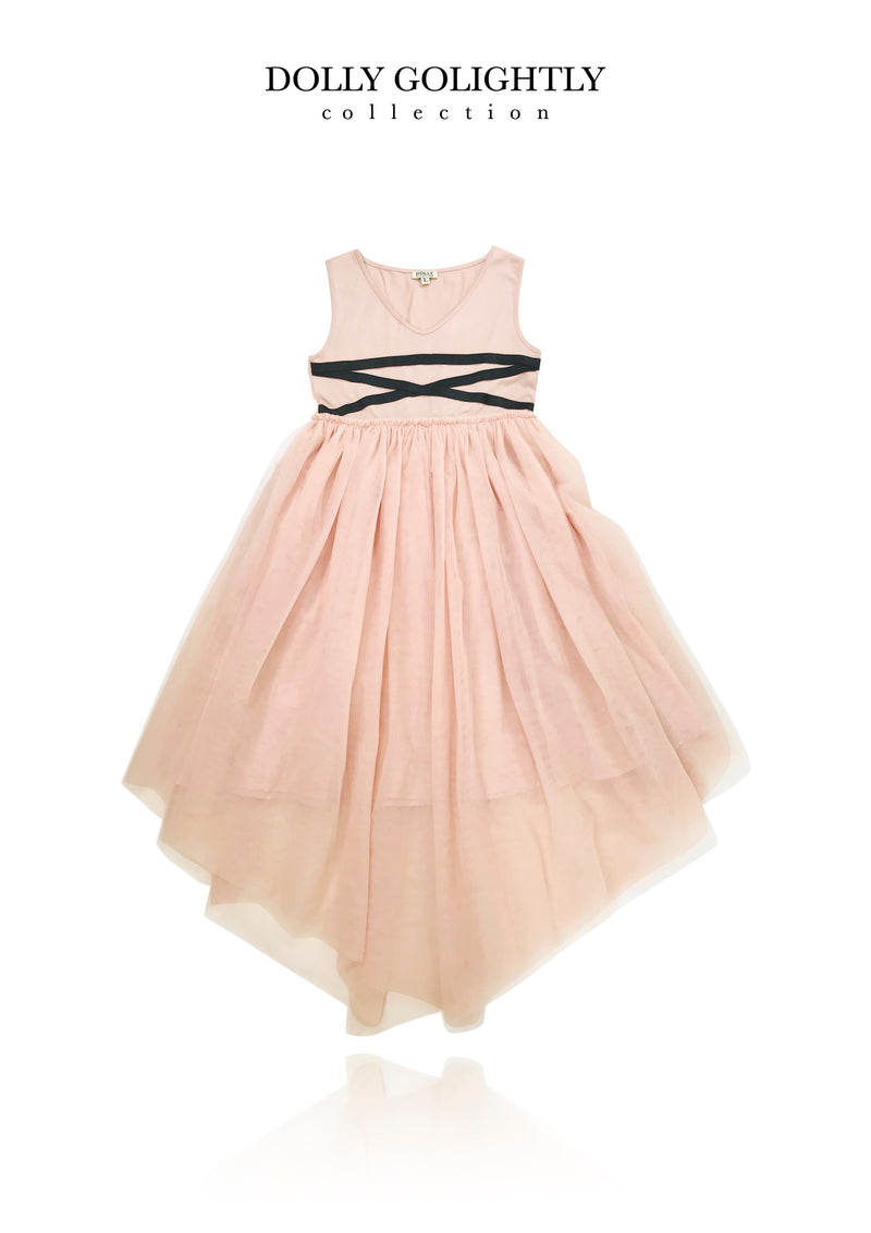 DOLLY GOLIGHTLY BALLERINA LACE UP WAIST DRESS ballet pink