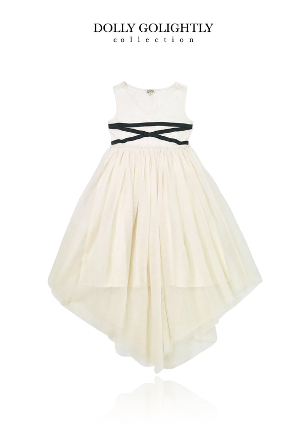 DOLLY GOLIGHTLY BALLERINA LACE UP WAIST DRESS  I ♥COFFEE