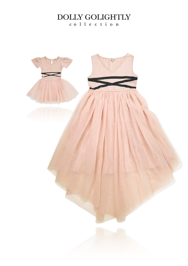 [EXPECTED NOV.] DOLLY GOLIGHTLY TULLE BABY ROMPER LACE UP WAIST ballet pink