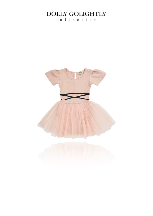 [ OUTLET] DOLLY GOLIGHTLY TULLE BABY ROMPER LACE UP WAIST ballet pink
