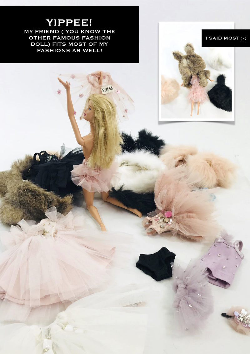 ANGELA Doll clothing DOLLY's FUR HAT WITH EARS FLAMINGO ballet pink-dolls-DOLLY by Le Petit Tom ®
