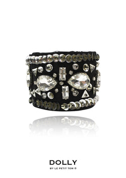 DOLLY by Le Petit Tom ® BEJEWELED wrist cuff black - DOLLY by Le Petit Tom ®