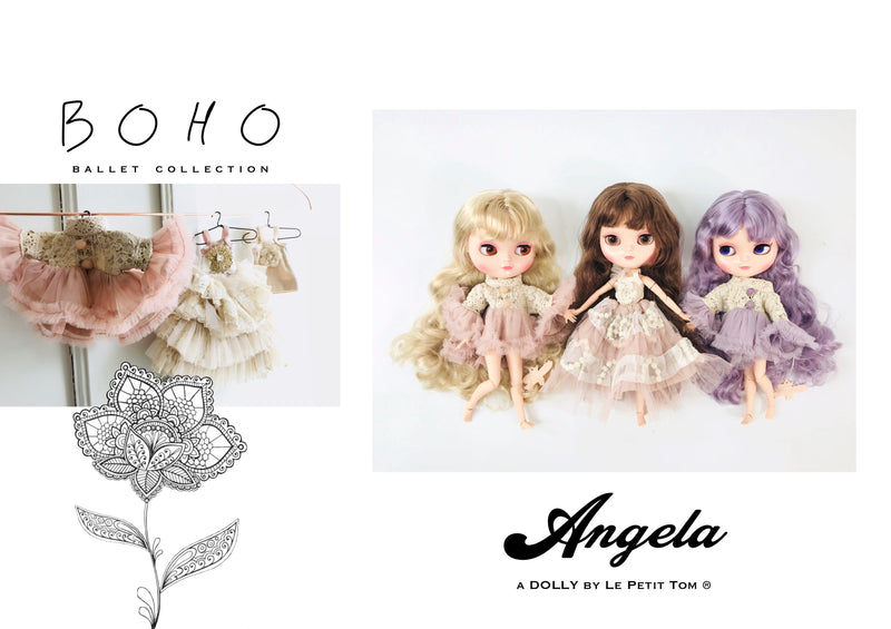 [ OUTLET] ANGELA Doll clothing DOLLY's BOHO TRUMPET TOP DRESS BALLET PINK