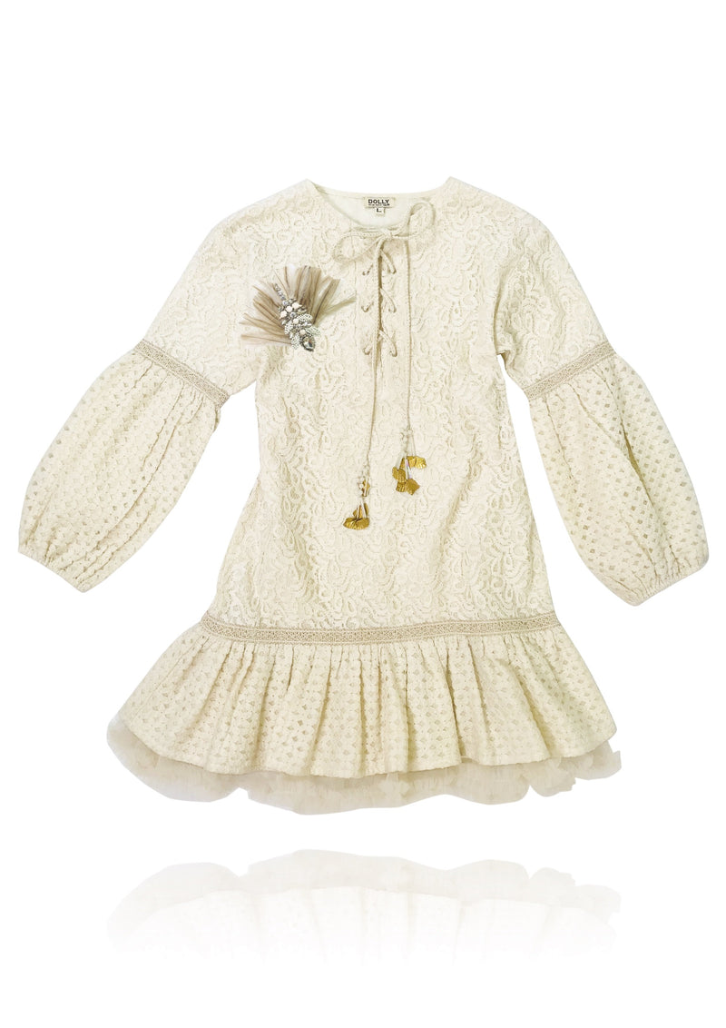 DOLLY by Le Petit Tom ® BOHO lace top dress ecru with broach - DOLLY by Le Petit Tom ®