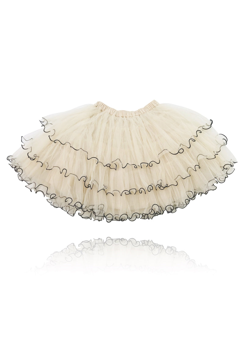 DOLLY by Le Petit Tom ® BOHO tutu with curly trims coffee - DOLLY by Le Petit Tom ®