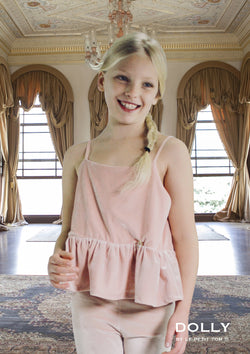 DOLLY by Le Petit Tom ® VELVET CAMI TOP WITH FRILL ballet pink - DOLLY by Le Petit Tom ®