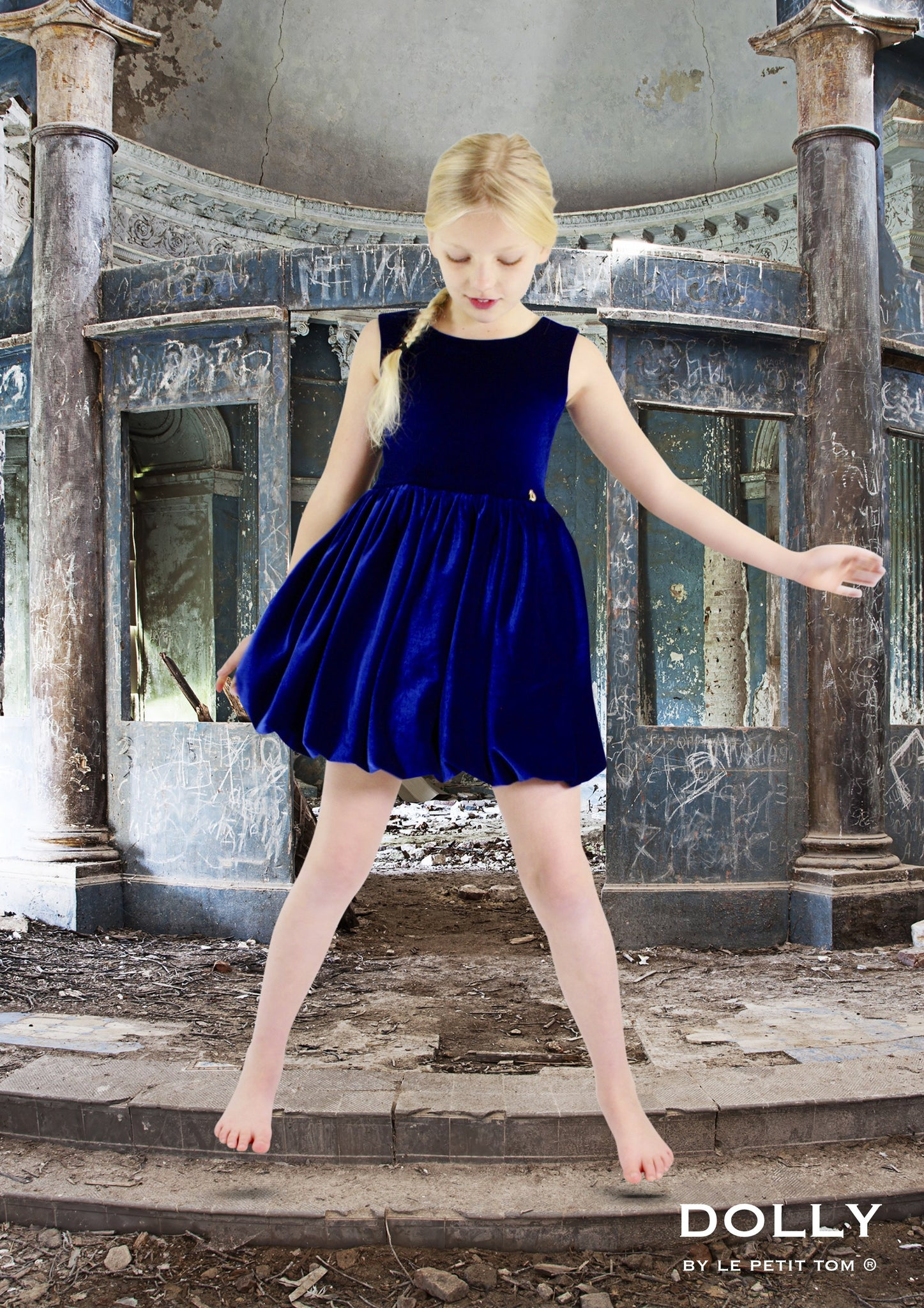 DOLLY by Le Petit Tom ® VELVET THE DELUXE BALLET dress royal blue - DOLLY by Le Petit Tom ®