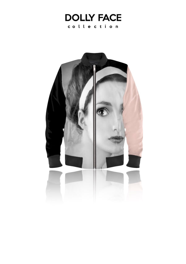 [OUTLET]  DOLLY FACE BOMBER JACKET black/ ballet pink