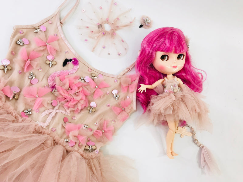 ANGELA Doll PULL CHARMS FLAMINGO-dolls-DOLLY by Le Petit Tom ®