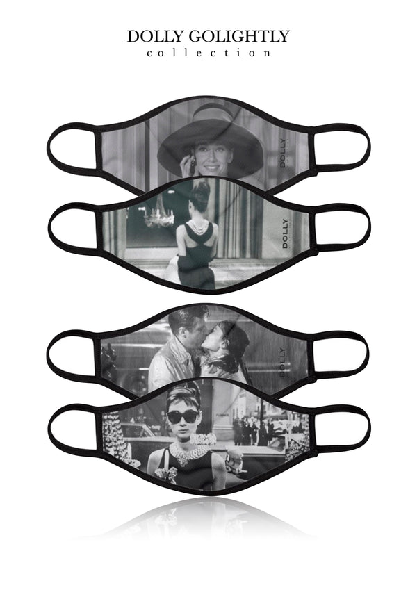 [OUTLET] DOLLY REAL GOLIGHTLY BREATHABLE FASHION FACE MASK MOUTH CAP ( Set of 4) BLACK & WHITE