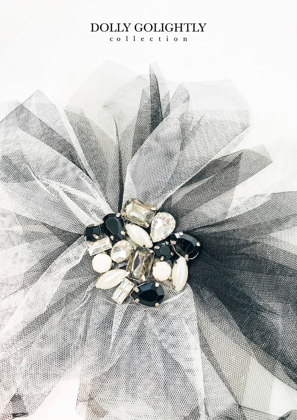 DOLLY GOLIGHTLY BIG HAIR ROSETTE-BROACH black/ I ♥coffee
