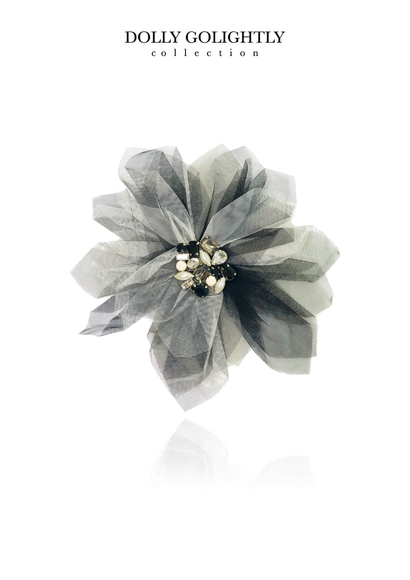 [ OUTLET] DOLLY GOLIGHTLY BIG HAIR ROSETTE-BROACH black/ I ♥coffee