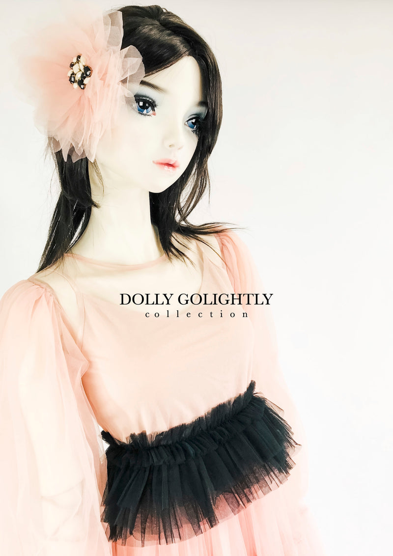 DOLLY GOLIGHTLY BIG HAIR ROSETTE-BROACH ballet pink/ I ♥coffee
