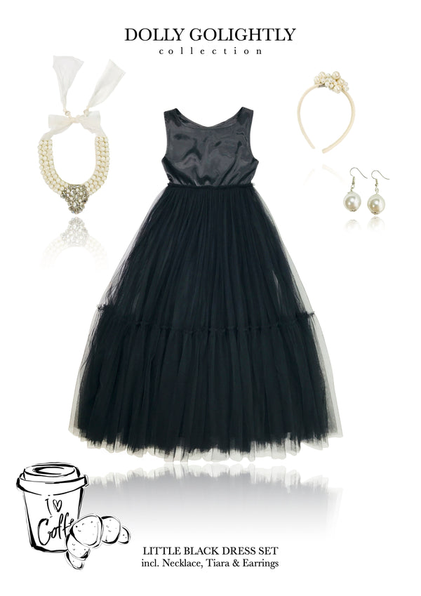 [ OUTLET]  DOLLY GOLIGHTLY Breakfast @ Tiffany's SATIN MAXI TUTU DRESS SET INCL. JEWELRY black