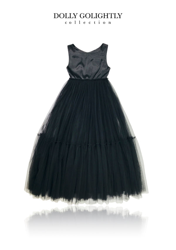 DOLLY GOLIGHTLY Breakfast @ Tiffany's SATIN MAXI TUTU DRESS black