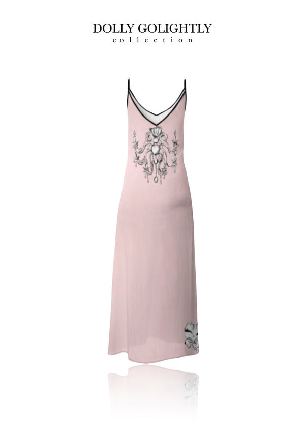 DOLLY GOLIGHTLY MAXI SLIP DRESS ballet pink sunglasses