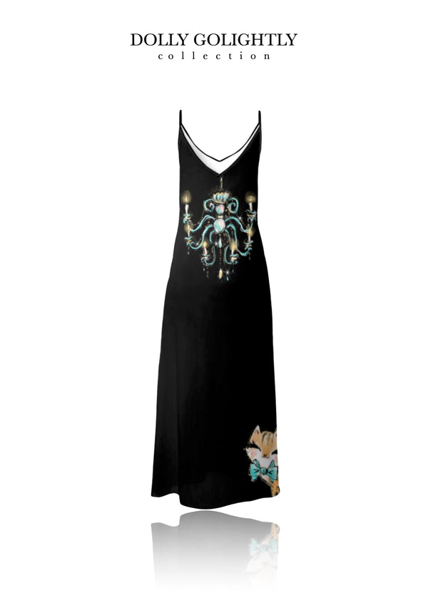 [ MADE TO ORDER!] DOLLY GOLIGHTLY MAXI SLIP DRESS black cocktail dark skin