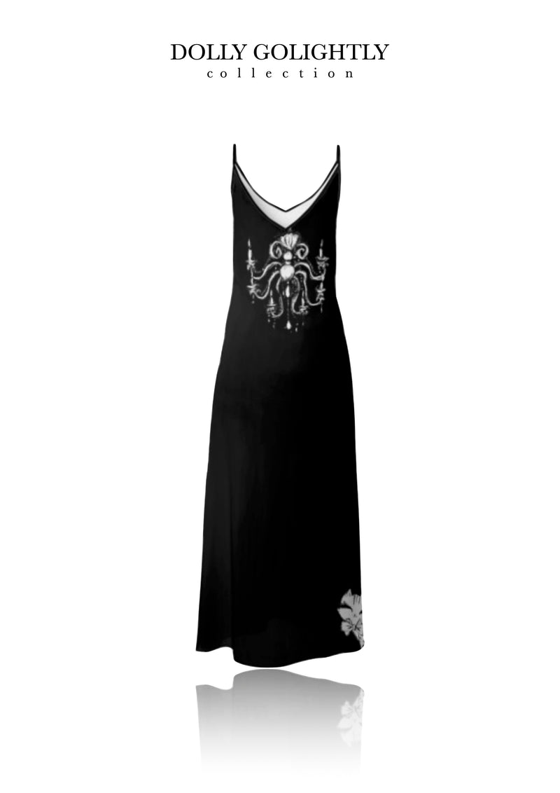 DOLLY GOLIGHTLY MAXI SLIP DRESS black & white sunglasses