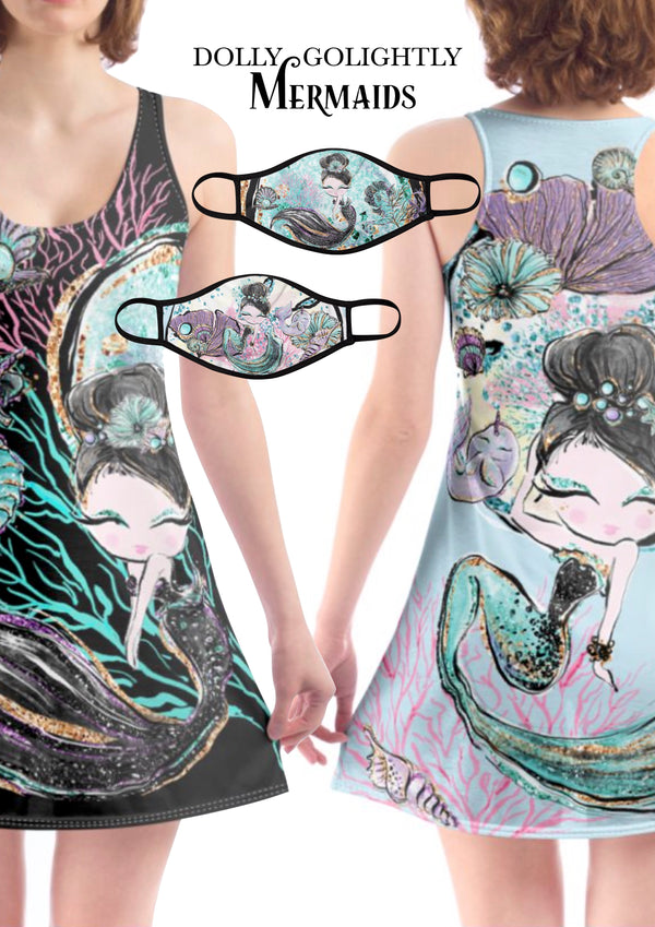 DOLLY GOLIGHTLY MERMAIDS BREATHABLE FASHION FACE MASK ( Set of 2) MERMAIDS TIFFANY BLUE TAILS