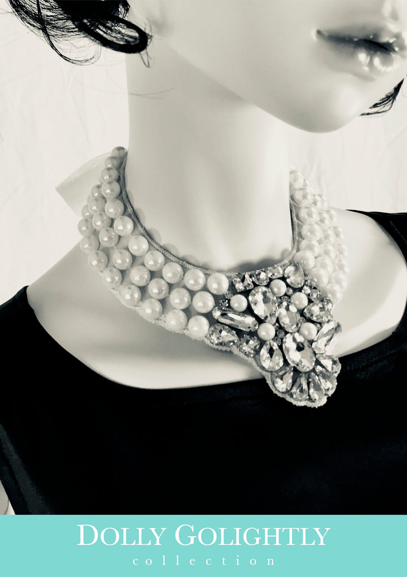 DOLLY GOLIGHTLY Breakfast @ Tiffany's PEARL & DIAMONDS NECKLACE