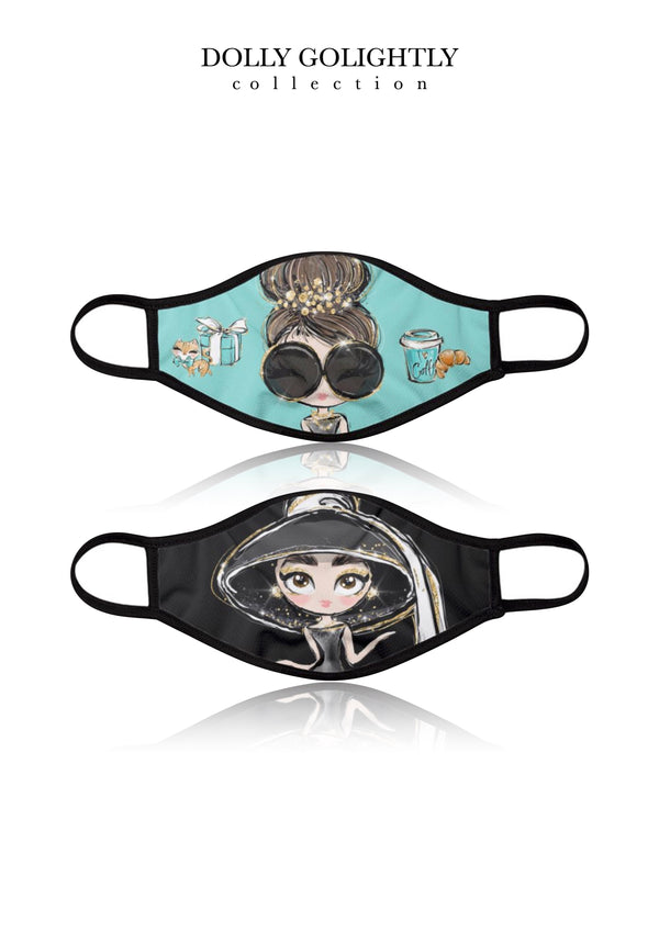 DOLLY GOLIGHTLY BREATHABLE FASHION FACE MASK MOUTH CAP ( Set of 2) Tiffany & black