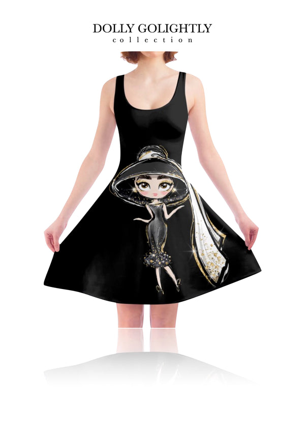 DOLLY GOLIGHTLY SKATER DRESS luxury black