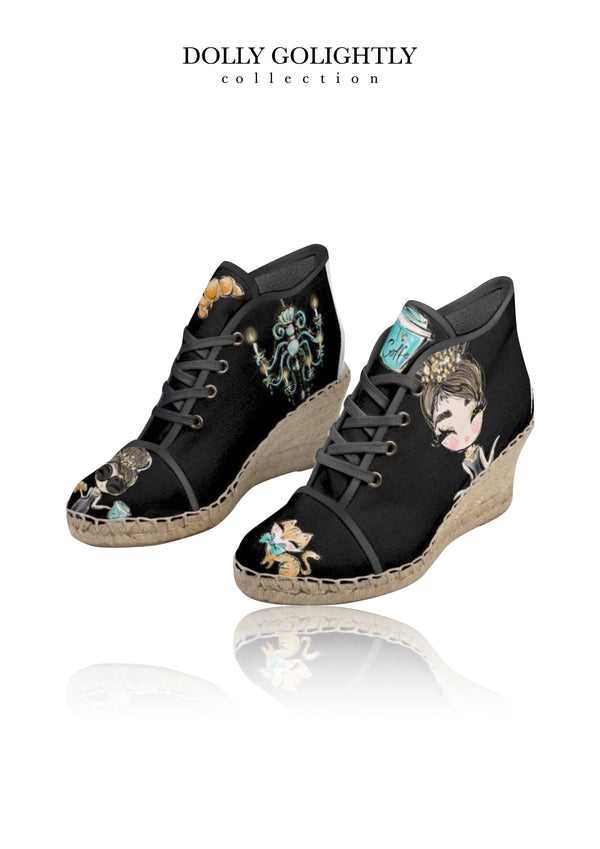 [MADE TO ORDER!] DOLLY GOLIGHTLY WEDGE ESPADRILLES full color luxury black