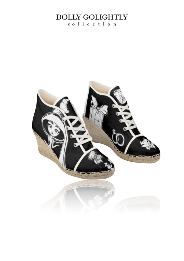 DOLLY GOLIGHTLY WEDGE ESPADRILLES black & white