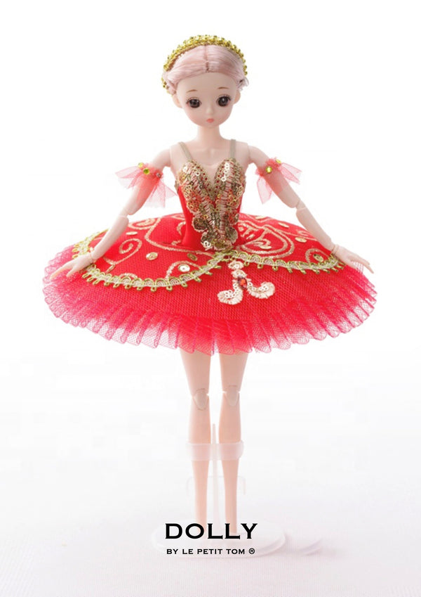 DOLLY's BALLERINA DOLL HANDMADE MINI PANCAKE TUTU  T010 red