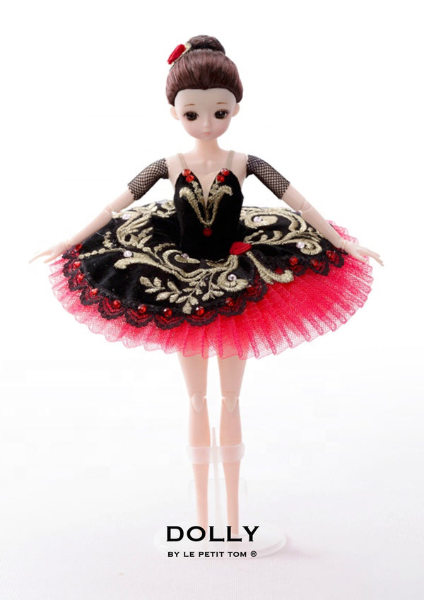 DOLLY's BALLERINA DOLL HANDMADE MINI PANCAKE TUTU T015 black/ red