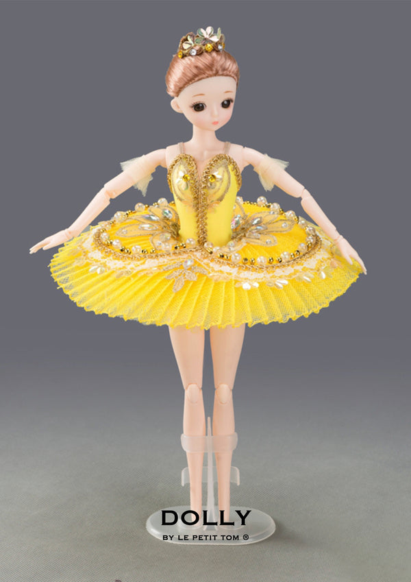 DOLLY's BALLERINA DOLL HANDMADE MINI PANCAKE TUTU T017 yellow