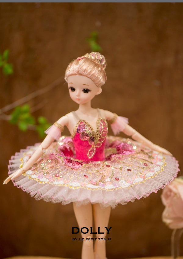 DOLLY's BALLERINA DOLL WITH A HANDMADE MINI PANCAKE TUTU T018 fuchsia pink