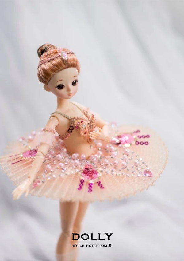 DOLLY's BALLERINA DOLL WITH A HANDMADE MINI PANCAKE TUTU T026 pink pearls