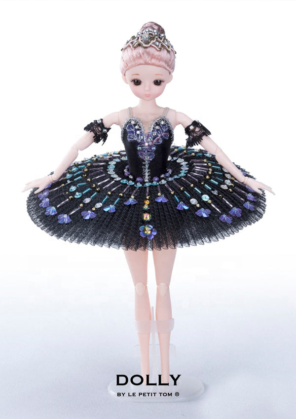 DOLLY's BALLERINA DOLL WITH A HANDMADE MINI PANCAKE TUTU T030 black