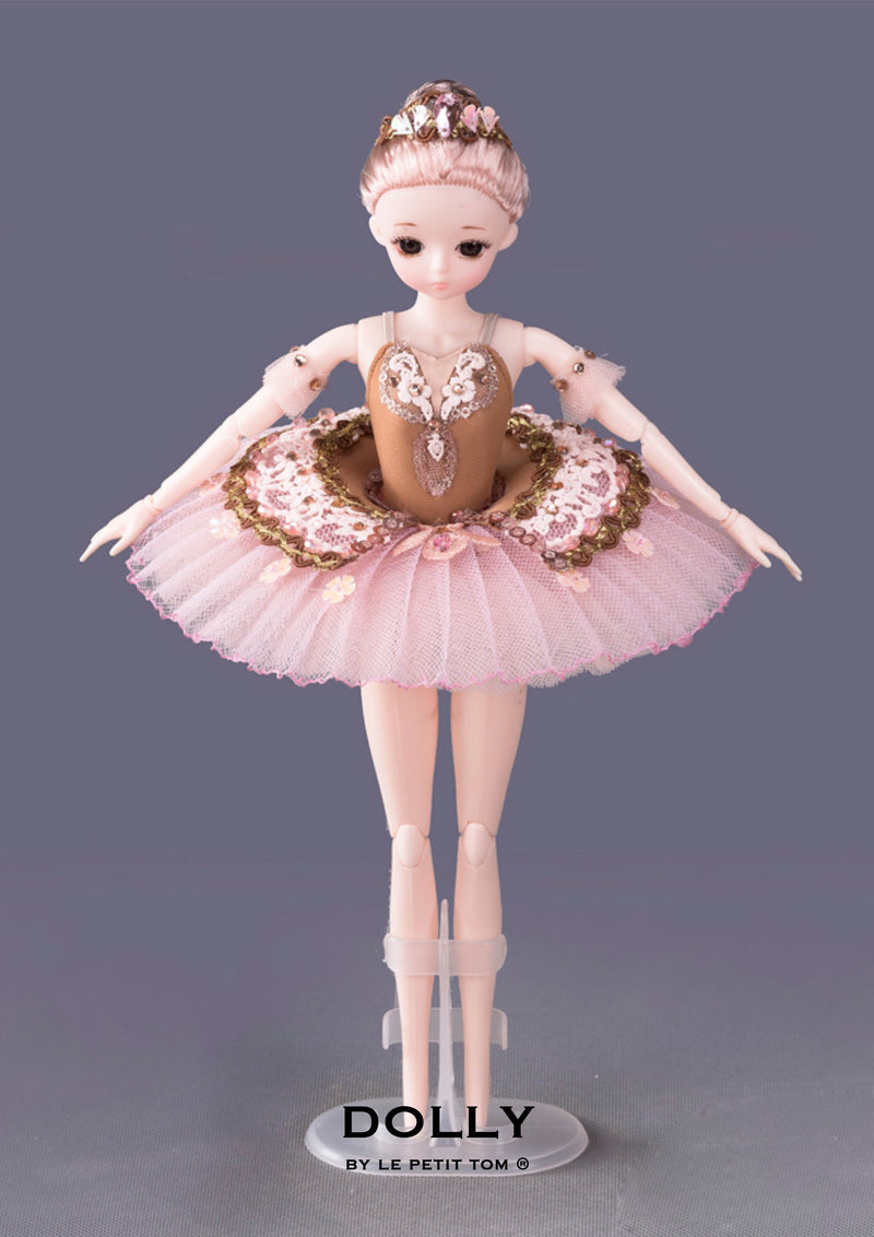 DOLLY's BALLERINA DOLL WITH A HANDMADE MINI PANCAKE TUTU T031 gold/ gold