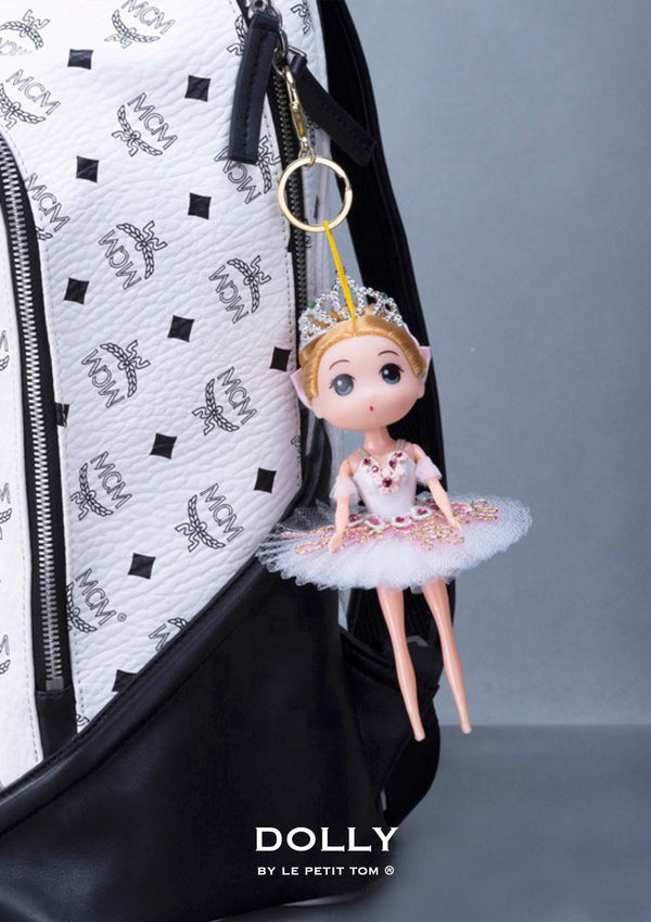 [ OUTLET] DOLLY's BALLERINA KEYRING DOLL WITH A HANDMADE PANCAKE TUTU K108 blonde pink