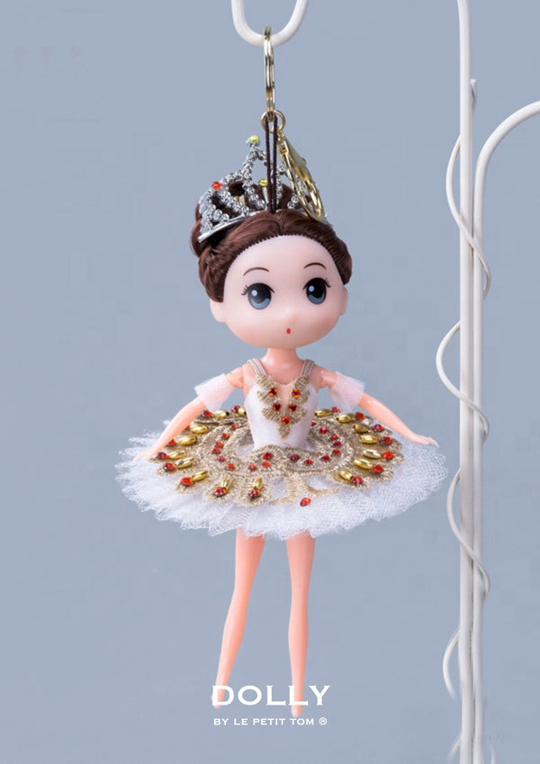 DOLLY's BALLERINA KEYRING DOLL WITH A HANDMADE PANCAKE TUTU K109 white/ gold