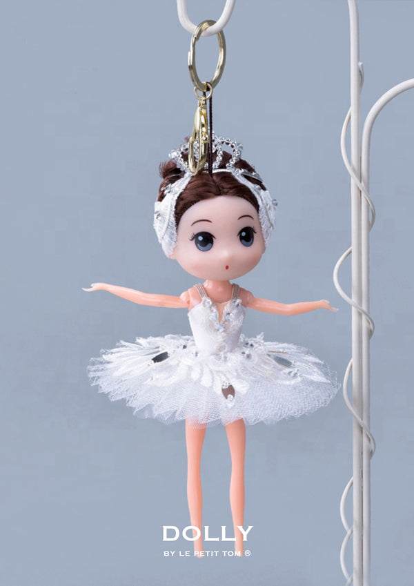 DOLLY's BALLERINA KEYRING DOLL WITH A HANDMADE PANCAKE TUTU K110 brunette white swan lake