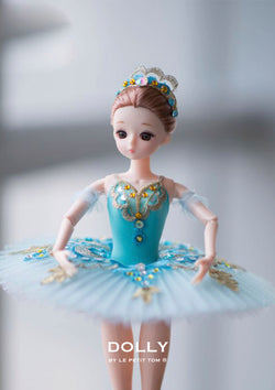 DOLLY's BALLERINA DOLL WITH A HANDMADE MINI PANCAKE TUTU T020 turquoise
