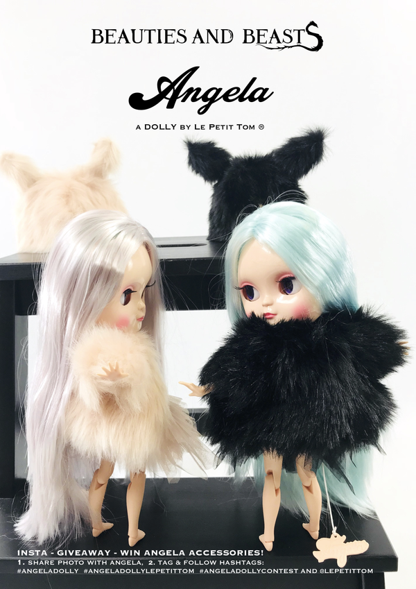 ANGELA Doll clothing DOLLY's FUR COAT BLACK PANTHER black-dolls-DOLLY by Le Petit Tom ®